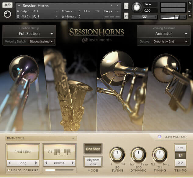 Native Instruments Session Horns GUI UI Interface Design