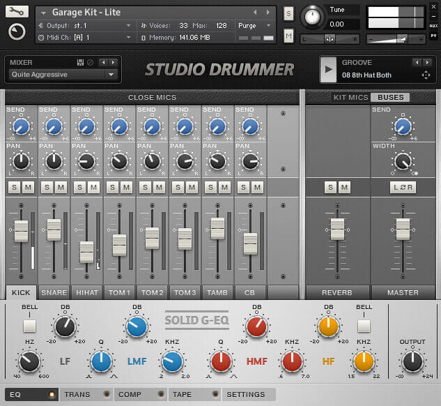 Native Instruments Studio Drummer GUI UI Interface Design