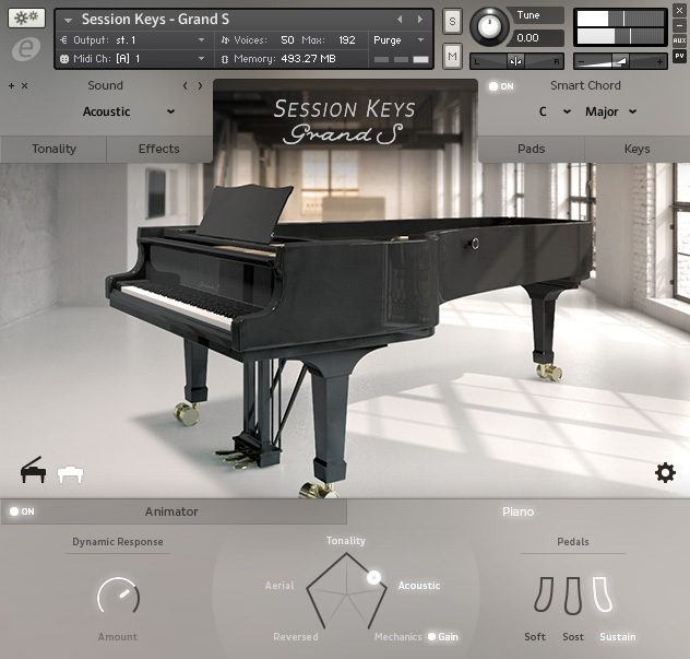 Screenshot User Interface Design MNDN e-instruments Session Keys Grand S Piano