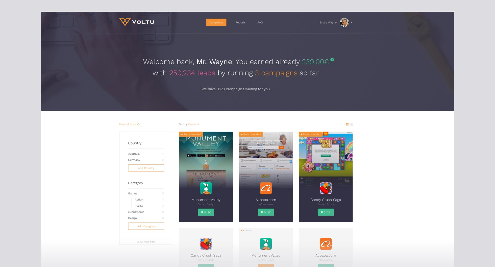 MNDN Voltu Webapp UI Campaigns Grid Screen Design